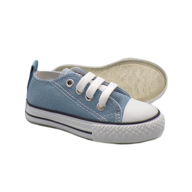Mavi Bağcıklı Keten Işıklı Ayakkabı
