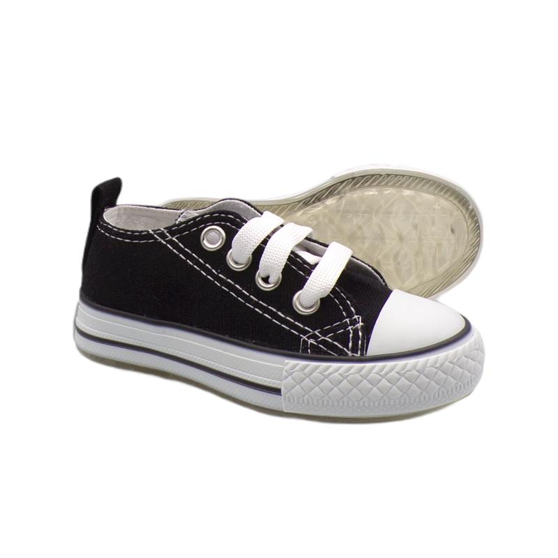 Siyah Bağcıklı Işıklı Keten Ayakkabı