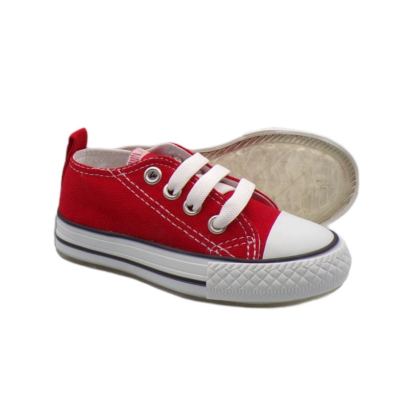 Kırmızı Bağcıklı Işıklı Keten Ayakkabı